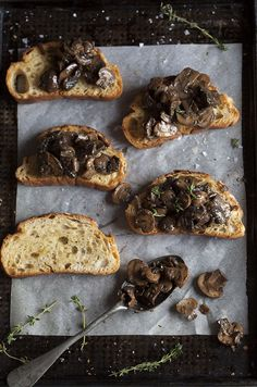 Mushroom Ragout on oven Baked Toast / Drizzle and Dip