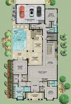 HPM Home Plans Home Plan 0094322 Pool house plans
