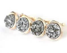 Druzy Stud Earrings 8 Colors to Choose From by WrennJewelryWedding, $25.00 in either Red, Gold, or Black
