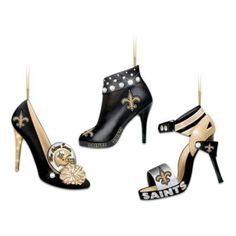 NFL New Orleans Saints Steppin Out Stiletto Shoe Ornament Collection