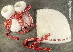 Béguin bébé et chaussons coordonnés (0-3 mois) tricotés blanc et ruban liberty rose et rouge : Mode Bébé par mamountricote