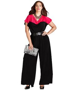 AGB Plus Size Jumpsuit, Short-Sleeve Colorblocked Belted - Shop Jumpsuits & Rompers - Plus Sizes - Macy's $60.00