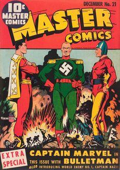 Captain Marvel, Captain Nazi and Bulletman - Master Comics #21 (1941) - Cover by Mac Raboy