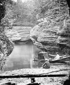 Boat and Dark Tent at Gates Ravine | Photograph | Wisconsin Historical Society