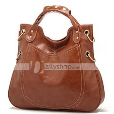 Fashion Leather Strap Rivet Womens Shoulder Bag