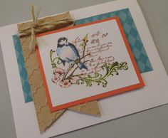 Fabulous You Stamp Set, Watercolour Pencils, Cashmere, Crystal Blue, Sorbet cardstocks, Quatrefoil Embossing Folder and Bakers Twine Hemp. by Denise Tarlinton
