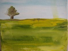 Oil painting -Green and Turquoise  tree after rain- . landscape  oil painting. heavy texture 18x8 inch on Etsy, $54.00