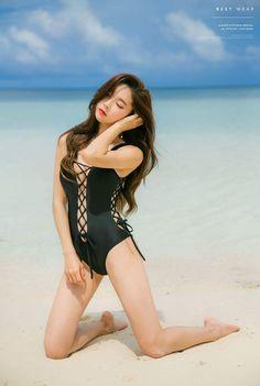 991db3650ffb4 Korean in Swimsuit · Asia Girl, Asian Beauty, China, Park Soo Yeon, Beach  Attire, One