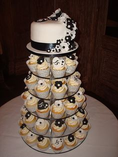 Sherry & Jonathan's Black & White wedding cupcake tower, #white #wedding