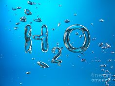 H2o Formula Made By Oxygen Bubbles In Water Photograph
