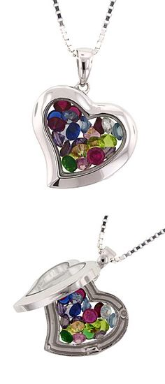 Family Windows Small Heart Birthstone Pendant - Holds up to 18 birthstones.  Grandma can represent her whole family!