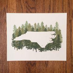 North Carolina State Print - Pine by MyWildBlueYonder on Etsy
