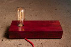 Solid Purpleheart wood Lamp mod. Balabam II Mini #002 - table lamp - wooden lamp - design lamp on Etsy, £144.14