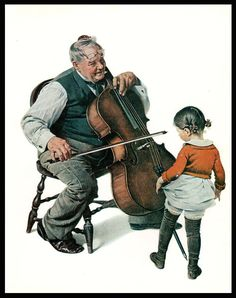 Chello Norman Rockwell Vintage Art Print 1978 Private Concert Man Playing Chello