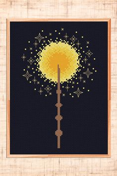 Magic wand cross stitch pattern. Cross stitch for Harry Potter lover.