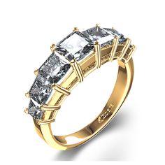 Seven-Stone Princess-Cut Diamond Ring in 14k Yellow Gold
