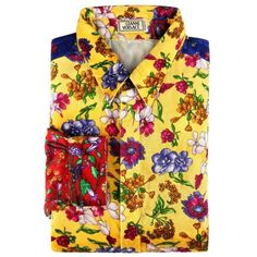 Preowned Gianni Versace C.1990's Colorblock Floral Patchwork Velvet... (47.255 RUB) ❤ liked on Polyvore featuring men's fashion, men's clothing, men's shirts, men's casual shirts, orange, shirts, mens floral shirts, mens casual long sleeve button down shirts, mens casual button down shirts and mens long sleeve casual shirts