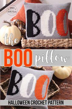 Halloween crochet pattern, fall throw pillow crochet pattern, crochet pillow, boo decor, halloween d Crochet Fall Decor, Holiday Crochet, Crochet Crafts, Crochet Ideas, Free Crochet, Crochet Cushion Pattern, Crochet Cushions, Tapestry Crochet, Crochet Pillow Cases