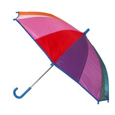 This rainbow color umbrella is a really bright and fun option to keeping your kid warm and dry. Its lightweight body and pinch-proof runner makes this umbrella really easy to carry and open by themselves. Handle color will vary.