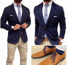 Navy blazer and cream trousers
