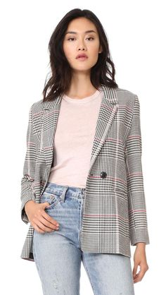 Buy Navy, White SMYTHE Blazer for woman at best price. Compare Jackets prices from online stores like Shopbop - Wossel United States Plaid Jacket, Plaid Blazer, Houndstooth Jacket, Plaid Coat, Blazer Jacket, Smythe Blazer, Best Blazer, Celebrity Style Guide, Clothes