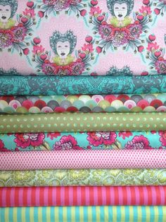 Fat Quarter Bundle of the Elizabeth collection in the Tart colorway by Tula Pink