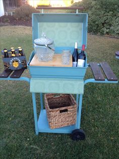 Repurposed grill into bar cart