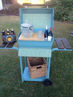 Repurposed grill into bar cart