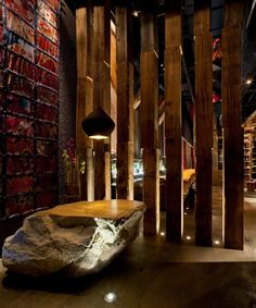 The interior for this restaurant was designed by the Interior design firm Munge Leung. Located in Toronto, Canada the AME restaurant is the place to be! Rustic Kitchen, Rustic Farmhouse, Rustic Bench, Rustic Cake, Open Kitchen, Restaurant Hotel, Rustic Restaurant, Restaurant Ideas, Chinese Restaurant