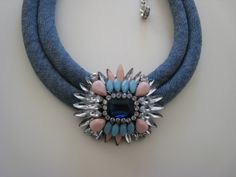 Handmade musthave statement necklace with soft cotton blue jeans rope & elegant blue crystal flower, almost square shaped. Adjustable length.  Just perfect to wear with your jeans all day long!!!   https://www.etsy.com/listing/179611612/handmade-musthave-statement-necklace?