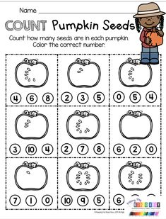 COUNTING Pumpkin Seeds - Numbers and counting - Pumpkin Life Cycle Unit with slideshow - printables - science reading and math activities for kindergarten and first grade FREE October resources - free picture cards for pumpkins Kindergarten Math Activities, Pre K Activities, Preschool Classroom, Kindergarten Classroom, Teaching Math, Fall Preschool, Numbers Preschool, Math For Kids, 19 Kids