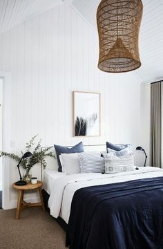 White wall bedroom with blues in bedding + Awesome Ratan light fixture bedroom interior design Farmhouse With Soul — Adore Home Magazine Modern Farmhouse Bedroom, Modern Bedroom, Farmhouse Style, Farmhouse Interior, Rustic Farmhouse, Farmhouse Ideas, Bedroom Classic, Modern Beds, Rustic Style