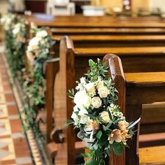 Tied pew end bunches #churchflowers #aisledecor #weddingflowers #corkwedding #irishwedding #bloomsdayflowers