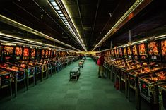 The biggest pinball arcade in the world has over 600 pinball machines, and 300 arcade machines.