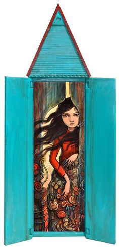 """Kelly Vivanco : Paintings  """"Gather Up"""" shown in it's open """"dollhouse"""" enclosure.  Available here: http://www.thinkspacegallery.com/2011/06/artwalk/works.php"""