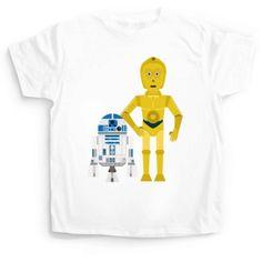 Camiseta para niños/as, hombre y mujer de la pareja de starwars r2d2 y c3po. Disponibles en camaloon