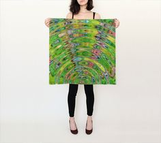 The Ripple Effect II, Lemon Lime - Silk Scarf, Small Square, 26x26