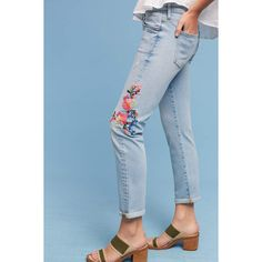 Pilcro Floral Embroidered Mid-Rise Ankle Jeans ($148) ❤ liked on Polyvore featuring jeans, denim light, floral embroidered jeans, cuffed jeans, pilcro jeans, cuffed denim jeans and denim jeans