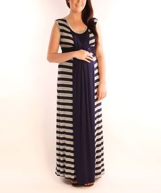 Navy & Heather Stripe Basket Weave Maternity Maxi Dress by Japanese Weekend on #zulily\