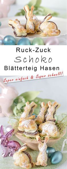 Schnelles und einfaches Osterngebäck - Schoko Blätterteig Hasen - super einfach und super schnell - Dessert für Ostern