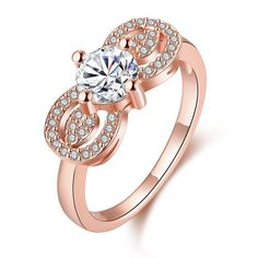 Plated Double Crystal Loop Ring, Women's
