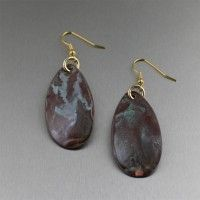 Maroon Patinated Copper Tear Drop Earrings. Simple styling, perfectly accented   http://www.johnsbrana.com/maroon-patinated-copper-tear-drop-earrings.html  $45.00