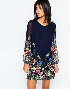 Yumi Long Sleeve Shift Dress In Border Floral Print