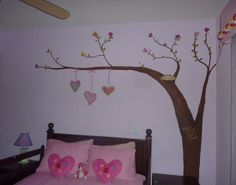 Pink room with a tree