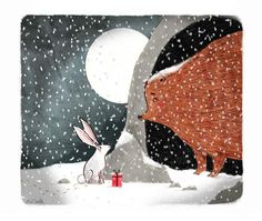Bunny with gift at the bear's cave . . . T Smith. Inspired by John Lewis Chrimbo