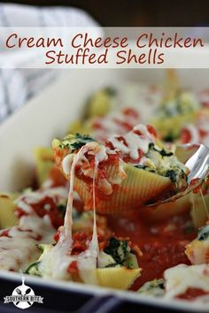 Cream Cheese Chicken Stuffed Shells - these babies are DELISH!