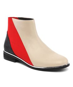 Beige & Red Contrast Leather Bootie