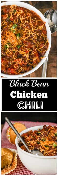 Black Bean Chicken Chili - An easy healthy recipe for the best comfort food!