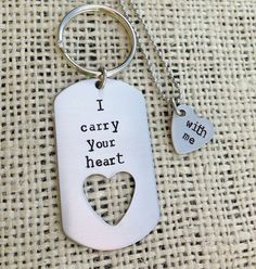 I carry your heart with me hand stamped dog tag and by CMKreations, $25.00