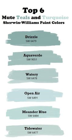 Top 6 Mute Teal and Turquoise Paint Colors. paint colors sherwin williams Top 6 mute teal and turquoise colors. Turquoise Paint Colors, Turquoise Painting, Paint Colours, Beachy Paint Colors, Teal Wall Colors, Light Blue Paint Colors, Beach House Colors, Aqua Paint, Accent Wall Colors